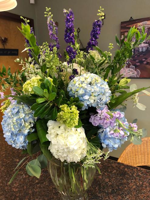 Lavender Blue Funeral Vase