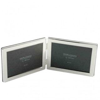 Silver Plated 4 x 6 Double Photo Frame in Landscape