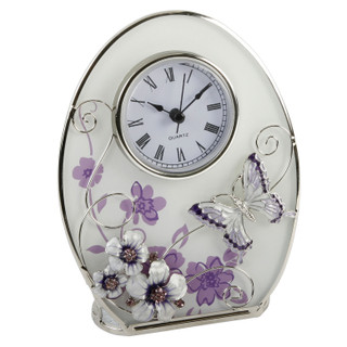 Oval Glass Purple Butterfly, Flowers & Crystal  Quartz Clock