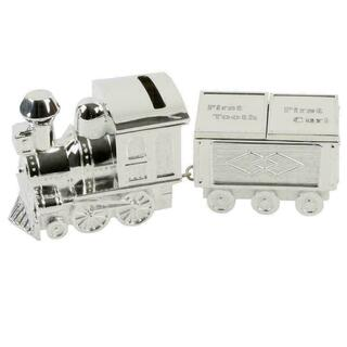 Bambino Silver Plate Train Money Box & First Tooth/Curl Carriage