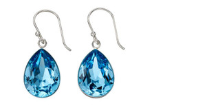 Gecko Swarovski®  Silver Large Teardrop Drop Earrings In Aqua Crystal