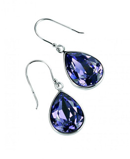 Gecko Swarovski®  Silver Large Teardrop Earrings In Tanzanite Crystal