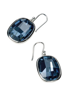 Gecko Swarovski®  Silver Large Graphic Facet Denim Blue Crystal Earrings