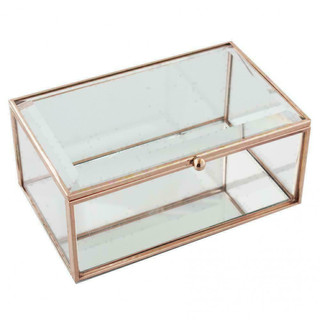 Hestia Glass Rose Gold Coloured Clear Jewellery Box