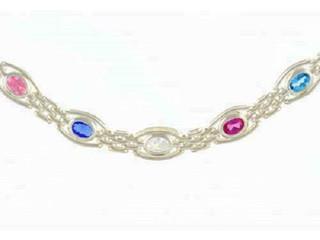 Silver Mixed Stone Gate Bracelet