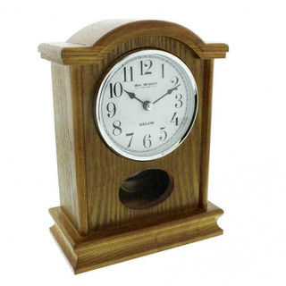 Wm.Widdop Quartz Mantel Clock Round Double Scroll - Oak