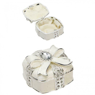 Silver Plated & Epoxy Square Trinket Box with Bow & Crystals