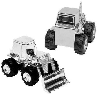 Silver Plated Tractor /  Digger Money Box