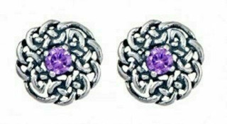 Silver Round Celtic Birthstone Studs February