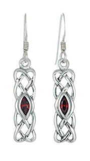 Silver January Celtic Birthstone Earrings