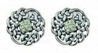 Silver Round Celtic Birthstone Studs August