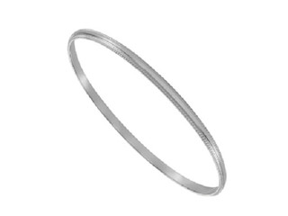Ladies Solid Silver 3mm Wide Bead Edge Belcher Bangle In Presentation Box