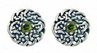 Silver Round Celtic Birthstone Studs May