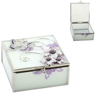 Sophia Glass Square Trinket Box Purple Butterfly/Flowers/Crystals