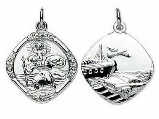 Sterling Silver Travel Scene St Christopher On Strong Trace Chain