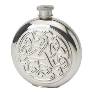 Pewter 6oz Celtic Round Embossed Hipflask