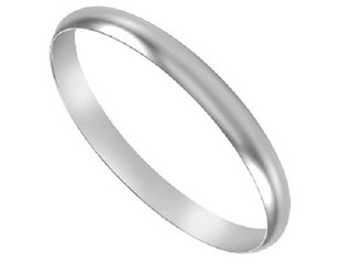 Silver 925 Hallmarked Heavy D Shaped Solid Bangle 10mm x 65mm