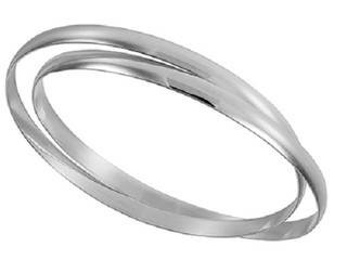 Silver Ladies D Shape Double Plain Silver Bangle