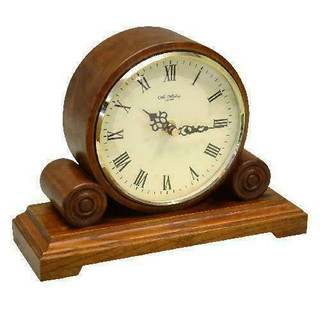 Wm.Widdop Quartz Mantel Clock Round Double Scroll - Walnut