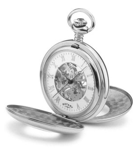 Rotary Steel 1/2 Hunter Pocket Watch  MP00712/01 RRP £189.00 Our Price £149.95