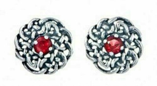 Silver Round Celtic Birthstone Studs July