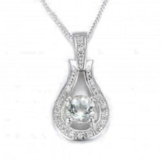 Espree Sterling Silver Pendant set with Green Amethyst and Cubic Zirconia
