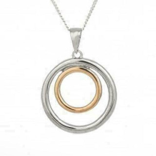 Espree Silver and Rose Gold Plated Circular Pendant