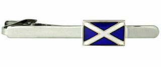 Scottish Flag Rhodium Plate Crocodile Clip Tie Bar