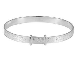 Sterling Silver Childs Teddy Christening Bangle
