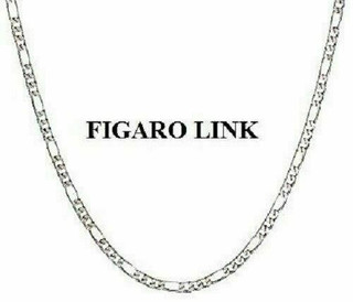 """Sterling Silver 3mm Figaro Chain In 16"""", 18"""" & 20"""""""