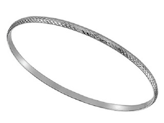 Silver 3mm Diamond Cut Stacker Bangle