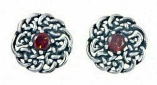 Silver Round Celtic Birthstone Studs January