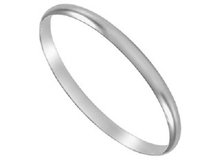 Silver Ladies 6mm Plain D Shape Bangle