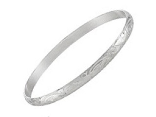 Sterling Silver 4mm x 65mm Engraved 'D' Shaped Bangle