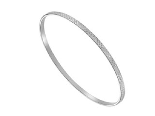 Silver 3mm Diamond Cut Flat Bangle