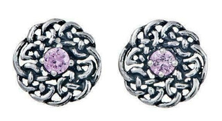 Silver Round Celtic Birthstone Studs October