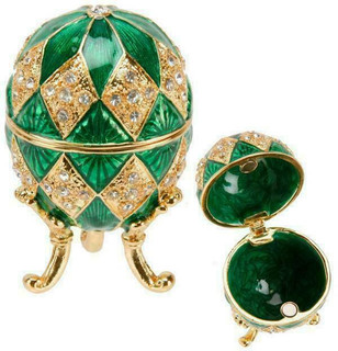 Small Green Enamel Egg Trinket Box