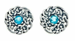 Silver Round Celtic Birthstone Studs December