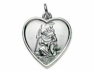 Sterling Silver Heart Shape St Christopher & Chain In Presentation Box
