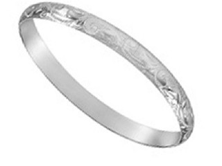 STERLING SILVER 8MM X 65MM ENGRAVED SOLID D SHAPED BANGLE