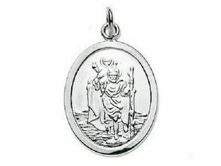 Sterling Silver Oval St Christopher On Strong Trace Chain In Presentation Box