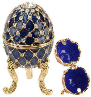 Small Blue Enamel Egg Trinket Box