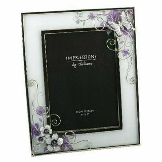 "Juliana Pink Butterfly/Flowers Glass Wire Photo Frame 5"" x 7"""