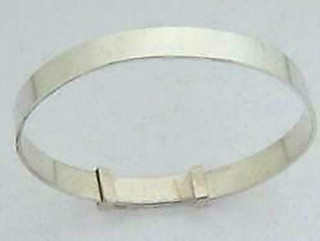 Silver Ladies Expanding Classic Plain Silver Bangle