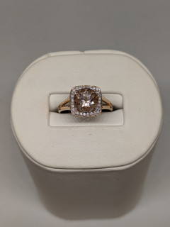 9ct Morganite and diamond ring