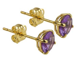 9ct Gold February birthstone stud earrings (Amethyst)