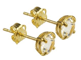 9ct Gold April birthstone stud earrings (White topaz)