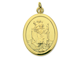 9ct Gold oval St.Christopher