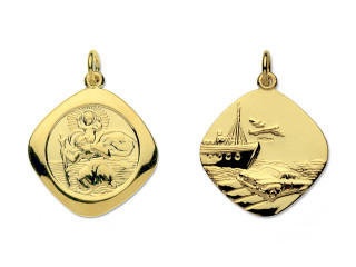 9ct Gold large reversible St.Christopher