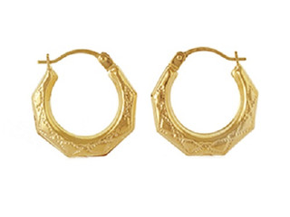 9ct Creole Patterned Earrings